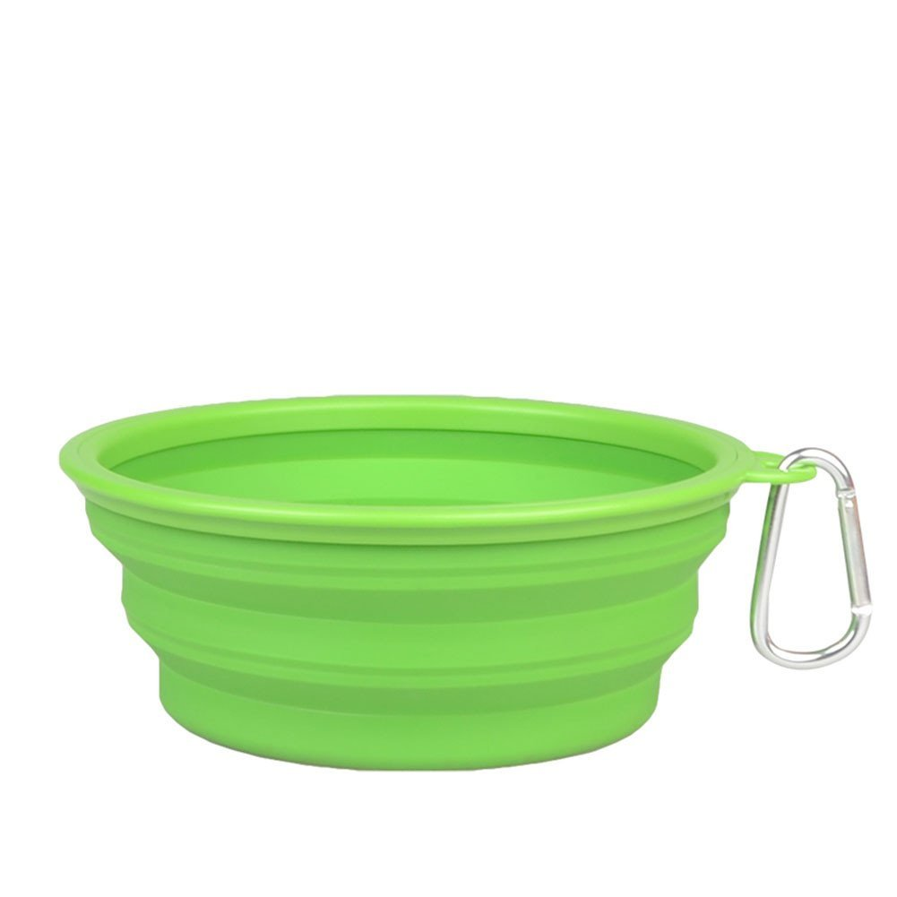 Forever-You Folding Silicone Bowl Dog Bowl pet Dog Basin Food Bowl cat Job, Green