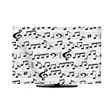 vanfan TV Dust Cover Abstract Black and White Music Seamless with Notes and Clef Cord Cover for Wall Mounted TV W25 x H45 INCH/TV 47'-50'