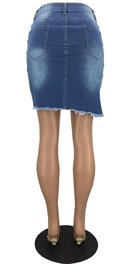 8e8278a0437b lexiart Blue Jean Skirt for Women Stretchy Distressed Short Denim Mini  Skirts at Amazon Women's Clothing store: