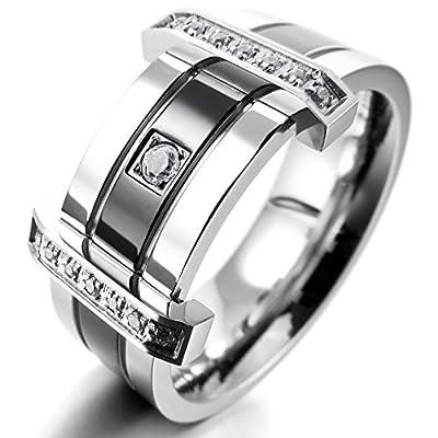 Men's Stainless Steel Rings Band CZ Silver Black Wedding Charm Elegant