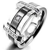 INBLUE Men's Stainless Steel Ring Band CZ Silver Tone Black Wedding Size10