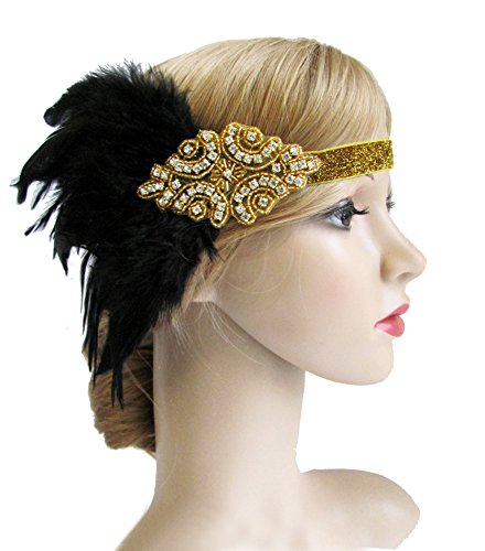 [Black Gold Headpiece Vintage 1920s Flapper Great Gatsby Headband With Feather(Gold)] (1920s Flapper Hairstyles)