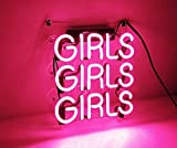 Girls Neon Signs, Handmade Real Glass Business Neon Light 12'' x 10'' for Home Bedroom Beer Pub Hotel Recreation Wedding Party Decor Wall Sign(Pink)