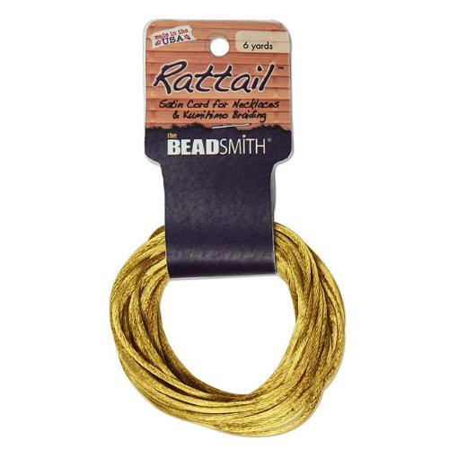 2mm Satin Rattail Braiding Cord Ant Gold 6 Yards For Kumihimo and Craft 420163 by Beadsmith
