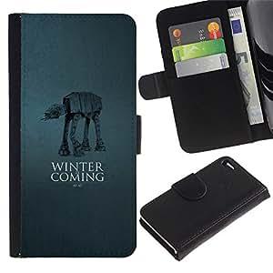 // PHONE CASE GIFT // Moda Estuche Funda de Cuero Billetera Tarjeta de crédito dinero bolsa Cubierta de proteccion Caso Apple Iphone 4 / 4S / Winter Is Coming - At At /