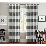 Turquoize Nautical Blackout Curtains(2 PANELS), Room Darkning, Grommet Top, Light Blocking Curtains, 52W by 63L Inch, Wave Stripes Pattern, Dove Gray, Sold by Pair