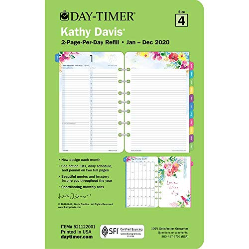Kathy Davis for Day-Timer 2020 Daily Planner/Appointment Book Refill, 5-1/2