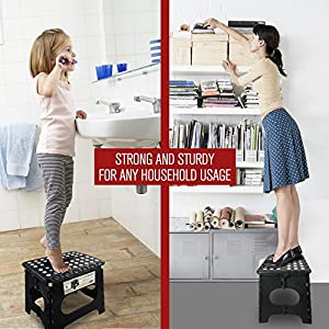 """Super Strong Folding Step Stool - 11"""" Height - Holds up to 300 Lb - The lightweight foldable step stool is sturdy enough to support adults & safe enough for kids. Skid resistant and open with one flip"""