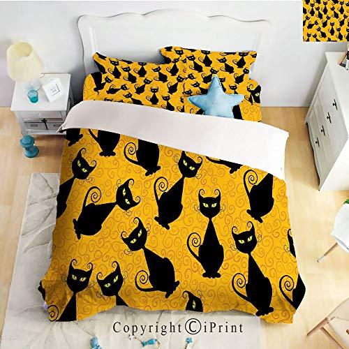 Homenon Bedding 4 Piece Sheet,Black Cat Pattern on Orange Background Halloween Witch Pet Graphic Decorative,Black Orange,Full Size,Wrinkle,Fade Resistant -