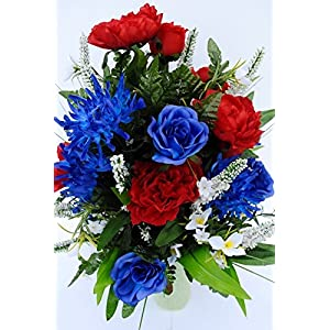 Spring Cemetery Vase Filler with Red and Blue Roses, White accent Flowers, and Blue Spider Lilies for Mother's Day, Memorial Day, July 4th or Father's Day 2