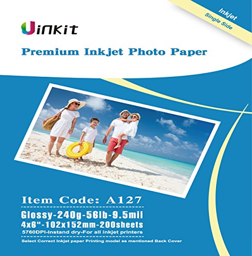 4x6 Glossy Photo Paper Inkjet Paper - Uinkit 200 Sheets Pack 9.5Mil 240Gsm For Inkjet Printing Only -4x6 Glossy ()