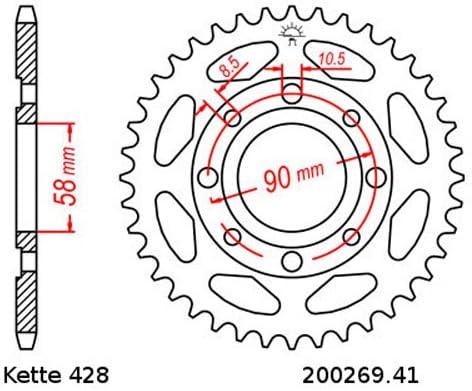 Kettensatz Geeignet Für Kymco Zing 125 97 01 Kette Rk 428 H 124 Offen 16 41 Auto