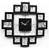 95a49a77ddc7 Modern Family Home Multi Color 12 Picture Photo Frame Quartz Wall Clock   Black