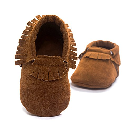 Royal Victory R&V Unisex Infant Baby Boys' Girls' Moccasins Soft Sole Tassels Prewalker Anti-Slip Toddler Shoes (S:0~6 Months, Tan)