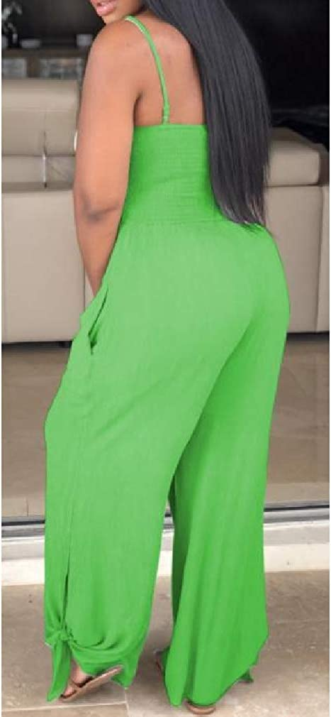 Cromoncent Women Sleeveless Spaghetti Strap Wide Leg Rompers Jumpsuits
