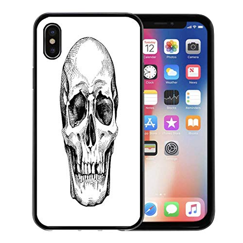 (Semtomn Phone Case for Apple iPhone Xs case,Drawing Frontal of The Skull Scary Sketch Anatomy Black Bone for iPhone X Case,Rubber Border Protective Case,Black)