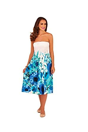4633fa5048b7 Un-Poco White Navy Mint Turquoise Floral Print Summer Dress Beach Sundress  Midi Maxi Skirt  Amazon.co.uk  Clothing