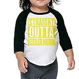 QPKMRTZTX0 Boys Girls Kids & Toddler Straight Outta Steeler Nation-1 Long Sleeve Tees 100% Cotton
