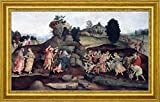 "Moses Brings Forth Water out of the Rock by Filippino Lippi - 15"" x 26"" Framed Premium Canvas Print"