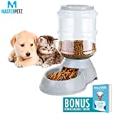 Dog Feeding Bowl for Dogs Cats Puppy Kitten and Small Pets <7 lbs with 8.3 Pound 16 Cups Capacity Automatic Gravity Feeder and Food Dispenser - Premium PP Safety Twist Mouth Ring with Ebook