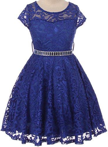 Flower Girl Dress Cap Sleeve Jewel Belt Floral Lace All Over for Big Girl Royal 6 JK19.88S