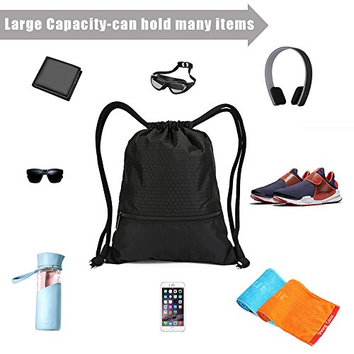 Drawstring Bag With Pockets Waterproof Sports Gym Bag with Large Capacity (Black) by Tosun (Image #5)