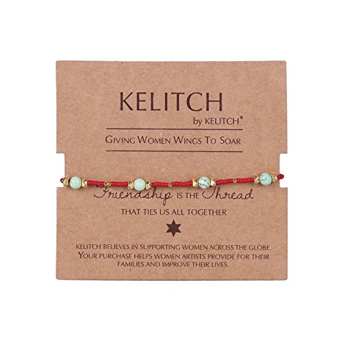KELITCH Multicolor Shell pearl Beaded Friendship Bracelets Hand Woven Wrap Charm Bangle Jewelry (Red)