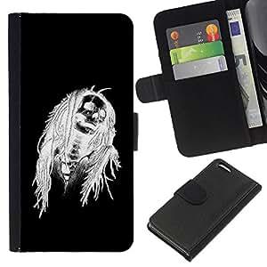 A-type (Negro de Halloween Blanco Cráneo Esqueleto) Colorida Impresión Funda Cuero Monedero Caja Bolsa Cubierta Caja Piel Card Slots Para Apple iPhone 5C