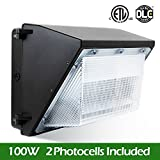 BWL 100W Led Wall Pack Light, Dusk to Dawn 2 Photocells for 120-277V, 5000K, 11000Lumen, Ip65 Waterproof Security Area Lighting, Outdoor Rated, 5 Years Warranty