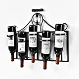 WELLAND Metal Wine Rack Wall Mounted with Corkscrew Top Holds 5 Wine Bottles Holders (Upside Down)