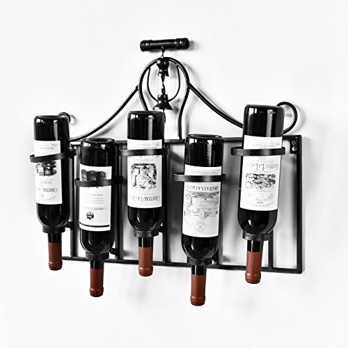 WELLAND Metal Wine Rack Wall Mounted with Corkscrew Top Holds 5 Wine Bottles Holders (Upside Down) by WELLAND