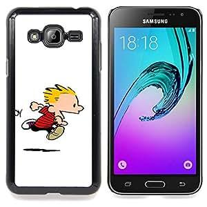 "Qstar Arte & diseño plástico duro Fundas Cover Cubre Hard Case Cover para Samsung Galaxy J3(2016) J320F J320P J320M J320Y (Calvin Hobbs"")"