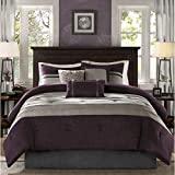 7 Piece Plum Purple Taupe Patchwork Comforter King Set, Grey Adult Bedding Master Bedroom Stylish Pintuck Pattern Solid Color Elegant Themed Traditional Microsuede Polyester Stripe