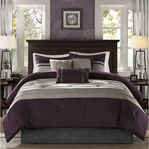 - Madison Park Queen Size Luxury Bedding Comforter Set in Simple Stripes Design, 7 Piece, Plum, Purple Beautiful Colors, Cute & Cozy