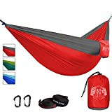 Hiker Hunger Premium Outdoor Hammock - Large Double Size, Portable & Ultra Light (Red Hammock Set)