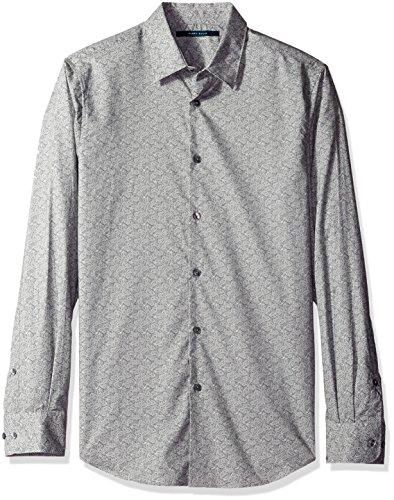Perry Ellis Men's Neat Paisley Shirt, Castle Rock, Large