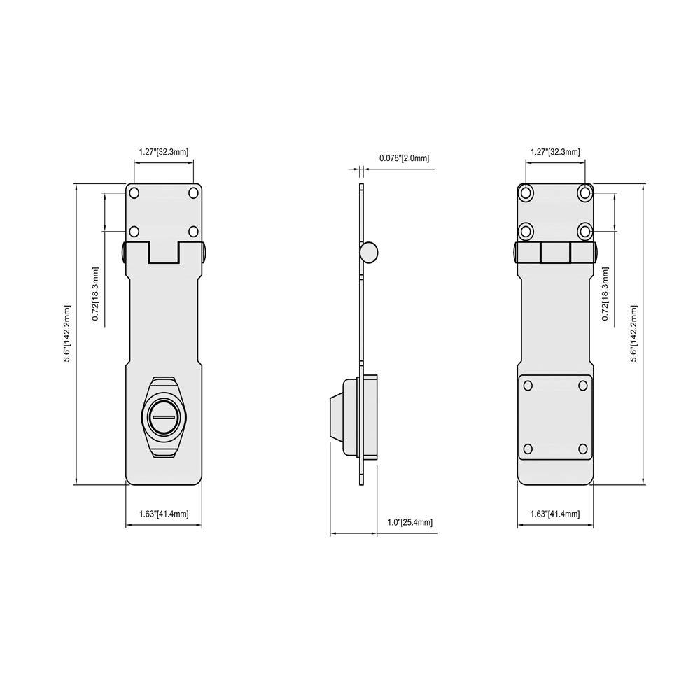 Home Master Hardware 4-1//2 Key Locking Hasp Keyed Steel Safety Hasp Lock Chrome Finish with Screws for Doors Cabinets