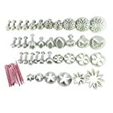 SODIAL(R) Cake Tools 44pcs Flower Fondant Cake Sugarcraft Decorating Kit Cookie Mould Icing Plunger Cutter Tool