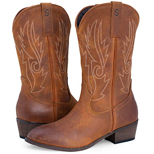 844b134fef2 SheSole Women's Western Cowgirl Cowboy Boots Leather Round Toe Country  Wedding Shoes Tan US Size 9