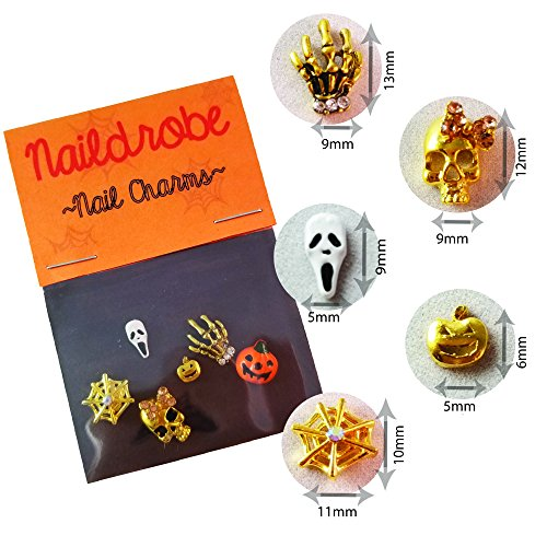 NAILDROBE 6 Halloween Nail Charms (pumpkins, skull, ghost, skeleton hands, spider (Halloween 3d Nails)