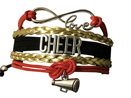 Cheer Bracelet, Infinity Love Adjustable Charm Bracelet for Cheerleaders