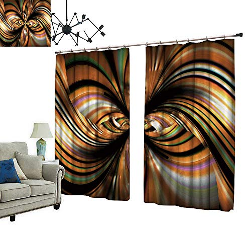 2 Panels Curtain with Hook Flower Texture Petals on Black backgroun Can Block Sunlight,W84.3 ()