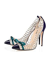 XYD Women Evening Stilettos Pumps Transparent Pointed Toe High Heels with Bowknots Dress Shoes Studded