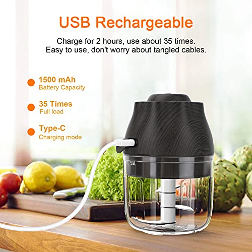 bedee Mini Chopper, Garlic Chopper, Electric Food Chopper With USB Charging Cable, Garlic Press For Chili, Fruits, Vegetables, Mini Baby Food Making Machine (250ML, 3 stainless steel blades*2 )