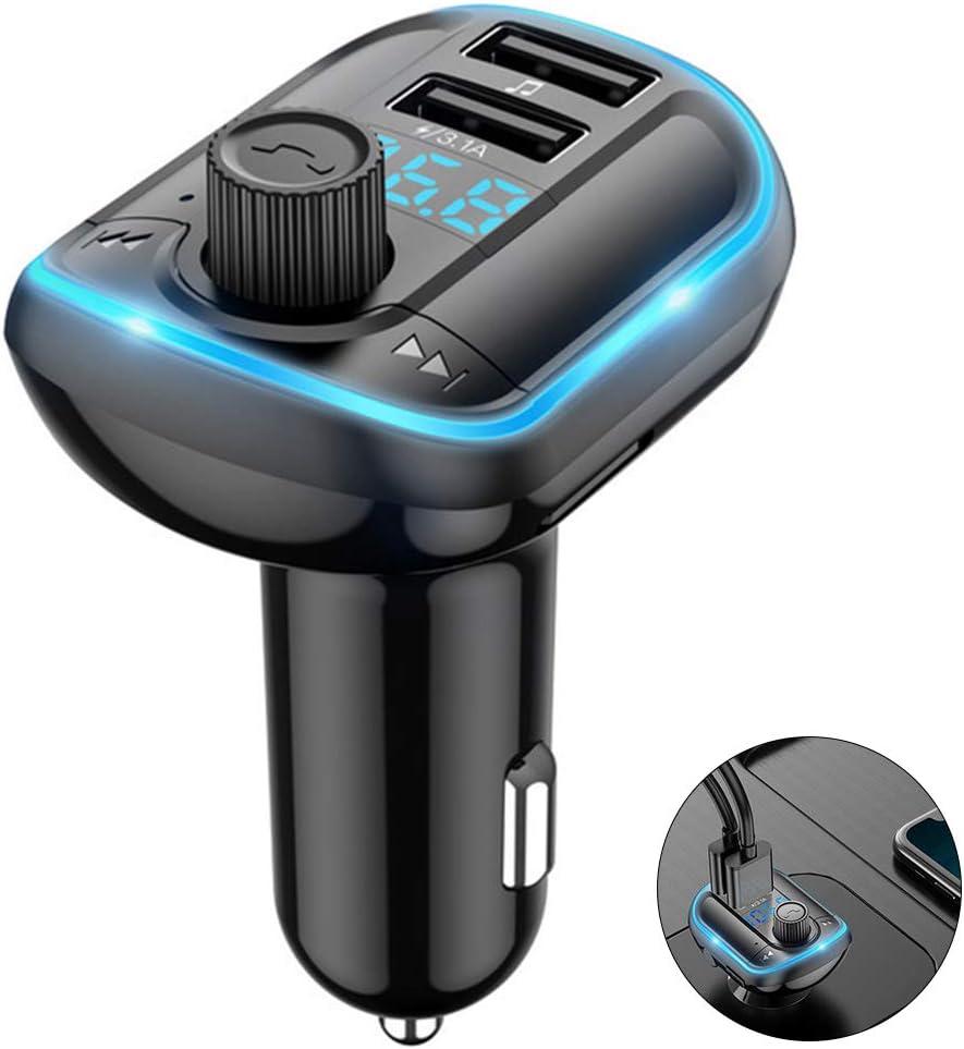 Transmisor FM Bluetooth Coche Manos Libres, Inalámbrico Reproductor MP3 Mechero Coche con Dual USB Puerto Carga, Adaptador Receptor Cargador Coche Acepta Memoria USB & Tarjetas TF
