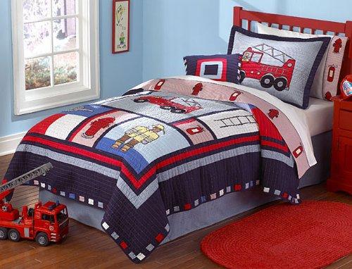 Fireman Firetruck Kids Boys Quilt Bedding Set Twin (Fire Truck Bedding compare prices)
