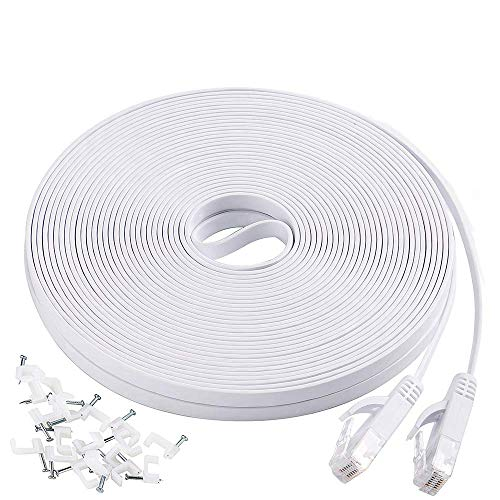 - Cat6 Flat Ethernet Cable, 50 FT Computer LAN Internet Network Cable, Patch Cord with Clips w/Snagless Rj45 Connectors for PS4, Xbox one, Switch, IP Cameras, Modem, Printers, Router -White