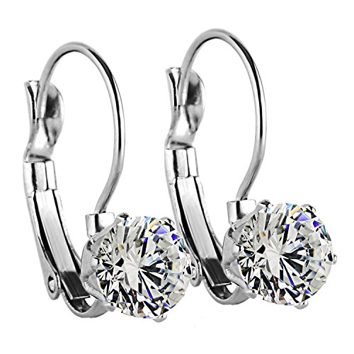 Charisma 8mm Stainless Steel Round Cubic Zirconia Crystal Dangle Leverback Earrings for Women Girl (Steel)