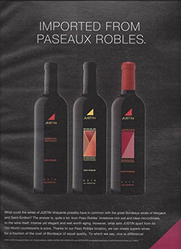 MAGAZINE AD For 2010 Justin Vineyard Wine Imported From Paseaux Robles