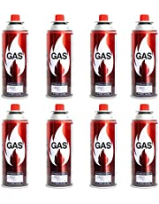 SET OF 8 | Elegant Portable STOVE GAS (220g) | 400ml - Butane and Propane Gas for Camping Stoves & Light, HIGH Performance Gas Mix | Butane GAS for Stoves